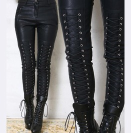 Punk Rock Women Pant Lambskin Leather Gothic Band Pleather Pants