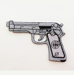 Embroidered Automatic Gun Iron On Patch.