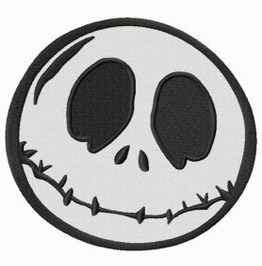 Embroidered Jack Skellington 2 Iron On / Sew Skull Patch 4 Sizes Available