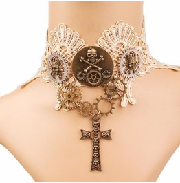 Vintage Steampunk Lace Gear Cross Choker Necklace