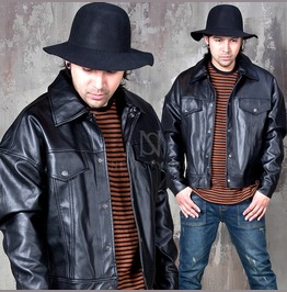 Snap Button Pocket Wide Fit Leather Jacket 111
