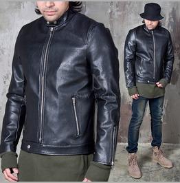 Mandarin Collar Black Leather Jacket 112