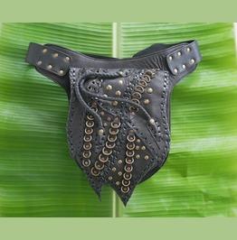 Black Leather Utility Belt Steampunk Gothic Belt Bag Punk Leather Waist Bag