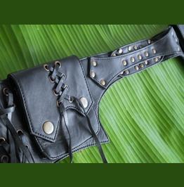 Leather Pocket Belt, Steampunk Waist Bag, Black Leather Utility Belt