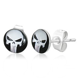 7mm Stainless Steel 2 Tone Skull Ghost Circle Stud Earrings Pair