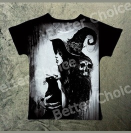 Salem Witch T Shirt With Black Cat And Skull