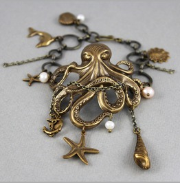 Tangled Up In Pearl White Antique Brass Octopus Bracelet