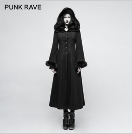 Black Punk Hooded Faux Fur Winter Trench Coat