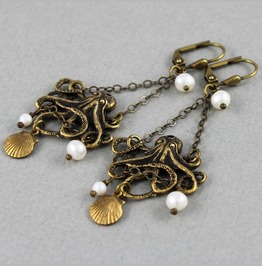 Tangled Up In Pearl White Antique Brass Baby Octopus Chandelier Earrings