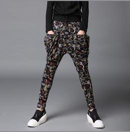 Mens Floral Printed Harem Pants Fashion Skinny Pants