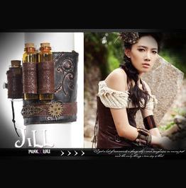 Goth Steam Punk Alchemist Mystery Elixir Tube Leatherette Bracelet Sp057 B