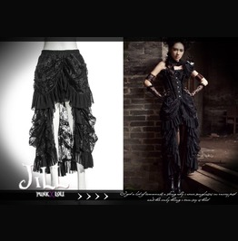 Goth Aristocrat Elyos Banquet Asymmetrical Evening Lace Skirt Sp067 Bk