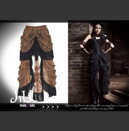Goth Aristocrat Elyos Banquet Asymmetrical Evening Lace Skirt Sp067 Brown