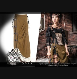 Steampunk Victorian Lyceum Of Prosperity Flounce Bustle Wrap Skirt Sp083 G