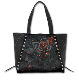 Spiral Hand Tote Bag Burnt Rose Studded Gothic