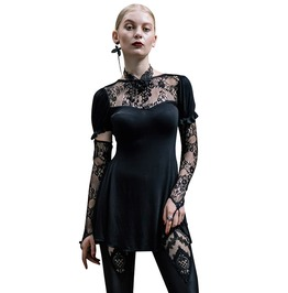 Women's Sheer Lace Floral Long Sleeve Top