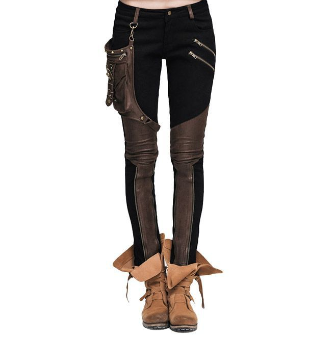 098d275e415 Gothic Black Denim And Coffee Spandex Trousers For Women
