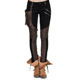 Gothic Black Denim And Coffee Spandex Trousers For Women