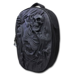 Spiral Backpack Rucksack Laptop 3 D Skull Death Re Ripped Goth Biker Metal