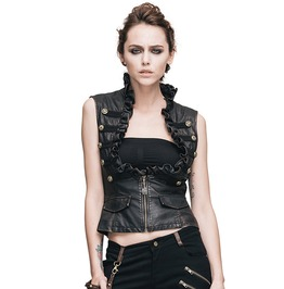 Women's Black Leather Ruffled Chest Vest (Brass)