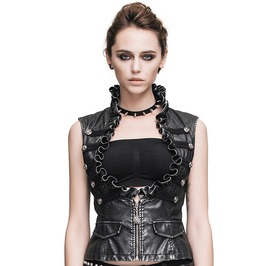Women's Black Leather Ruffled Chest Vest (Silver)
