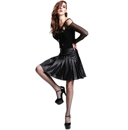 Women's Leather Pleated Black Skirt