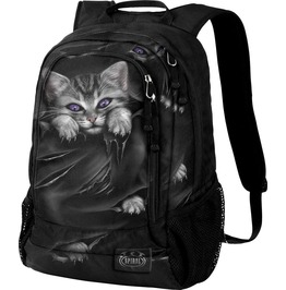 Spiral Backpack Rucksack Laptop Bag Bright Eyes Cat Goth School College Uni