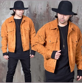 Snap Button Pocket Wide Fit Suede Jacket 113