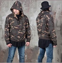 Half Zip Up Camouflage Hoodie 154