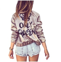 Queens Only Womens Bomber Satin Jacket New Design