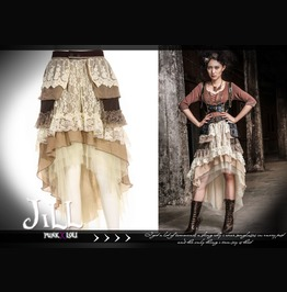 Steampunk Victorian Leona Silversmith Asymmetrical Lace Evening Skirt Sp089