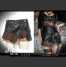 Steam Punk Industrial Revolution Dimension War Military Mini Skirt Sp090 Bk