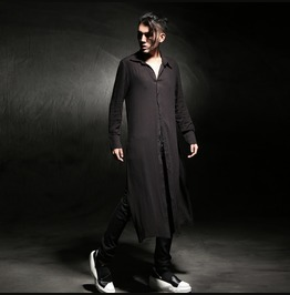 Korean Fashion Mens Extra Long Side Split Linen Casual Shirts