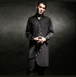 Fashion Mens Black Loose Casual Shirts