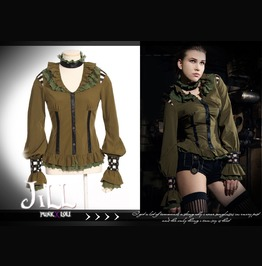 Steampunk Ivalice Relic Lantern Sleeve Dress Shirt W/ Choker Sp105 G
