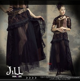 Steampunk Victorian Aristocrat Floral Lace Tull Frill Maxi Skirt Sp144