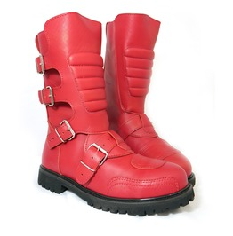 Road Warrior Goose 4 Strap Harness Red Leather Steel Toe Boots