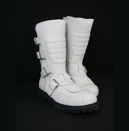 Road Warrior Goose 4 Strap Harness White Leather Steel Toe Boots
