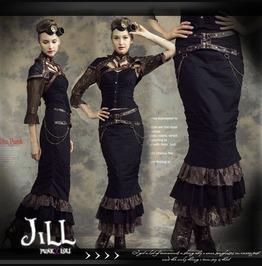 Steampunk Leatherette Belt Chain Tiered Hem Pencil Skirt Jrsp145 Bk