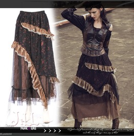 Steampunk Prussia Mechanic Floral Lace Evening Tiered Long Skirt Sp151