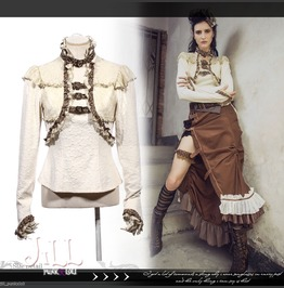 Steampunk Aristocrat Lace Trim Floral Embossed Blouse W/ Choker Sp156 W