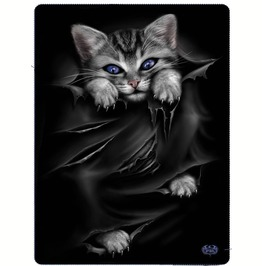 Gothic Fleece Blanket Throw Bright Eyes Cat Alternative Goth Cute