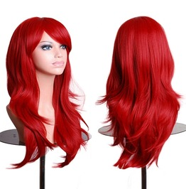 Wavy Red Purple Pink Cosplay Wigs Long Synthetic Hair Women