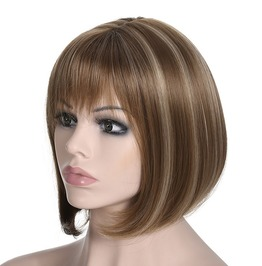 Straight Short Bob Flat Bangs Highlights Synthetic Hair Wig Women