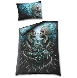 Spiral Direct Reversible Single Duvet Cover Flaming Spine Skull Goth Metal
