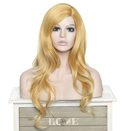 Long Curly Golden Blonde No Bangs Synthetic Hair Wig Women
