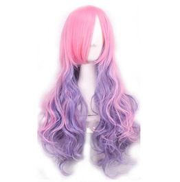Ombre Mix Color Long Curly High Temperature Synthetic Hair Wig Women