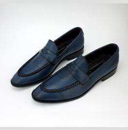 Handmade Mens Navy Blue Moccasins Shoes, Men Leather Shoes Slip Ons Loafer