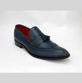 Handmade Men Navy Blue Tassels Moccasins Shoes, Men Leather Shoes Loafer