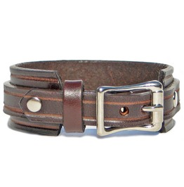 "1"" Wide Brown Leather Wristband Cuff Bracelet With Silver Buckle"